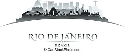 Rio de Janeiro Brazil city skyline silhouette white background