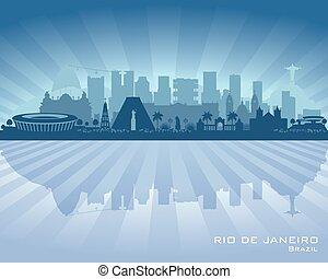 Rio de Janeiro Brazil city skyline vector silhouette