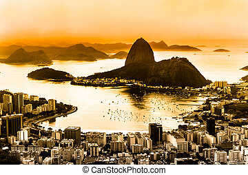 Rio de Janeiro, Brazil. Suggar Loaf and Botafogo beach ...