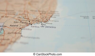 Picture of the City of Rio De Janeiro on a Colorful and Blurry Brazil Map