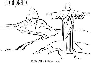 Rio de Janeiro city - Rio de janeiro outline Christ view