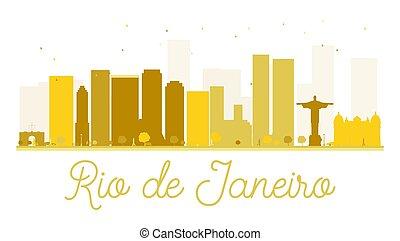 Rio de Janeiro City skyline golden silhouette.