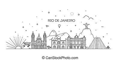 Rio de Janeiro detailed Skyline. Travel and tourism ...