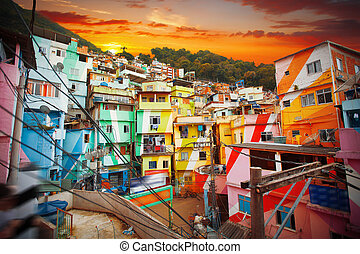 Rio de Janeiro downtown and favela.  Brazil
