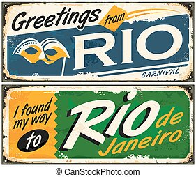 Rio de Janeiro, greetings from Brazil, retro tin signs set on old metal texture. Vintage vector illustration.