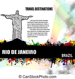 Rio de Janeiro, vintage travel destination grunge poster with colored splash and space for your text, vector illustration