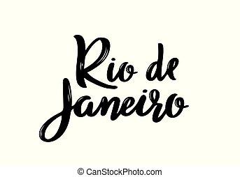 Rio de Janeiro- hand drawn lettering name of Brazil city.
