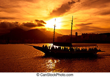 Rio de Janeiro Harbor - Rio de Janeiro harbor with tourist...