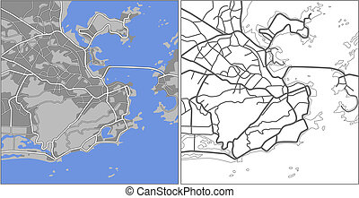 Rio de Janeiro - Illustration city map of Rio de Janeiro in...