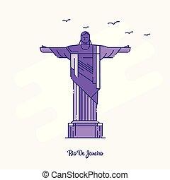 RIO DE JANEIRO Landmark Purple Dotted Line skyline vector illustration
