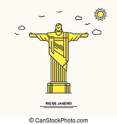 RIO DE JANEIRO Monument Poster Template. World Travel Yellow illustration Background in Line Style with beauture nature Scene