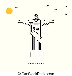 RIO DE JANEIRO Monument. World Travel Natural illustration Background in Line Style