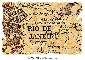 Rio de Janeiro old map - Rio de Janeiro, Brazil on an old...
