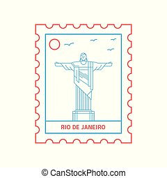 RIO DE JANEIRO postage stamp Blue and red Line Style, vector illustration