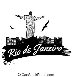 Rio de Janeiro in vitage style poster, vector illustration
