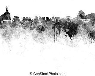Rio de Janeiro skyline in black watercolor on white...