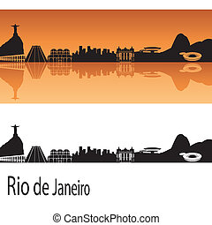 Rio de Janeiro skyline in orange background in editable ...