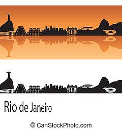 Rio de Janeiro skyline in orange background in editable...