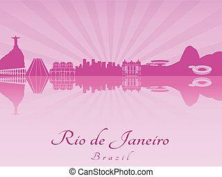 Rio de Janeiro skyline in purple radiant orchid