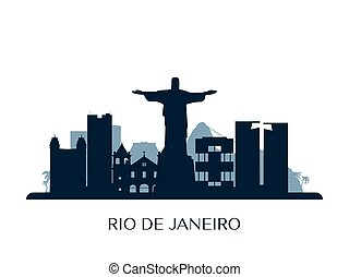 Rio de Janeiro skyline, monochrome silhouette.
