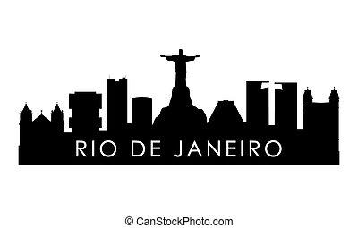 Rio De Janeiro skyline silhouette.