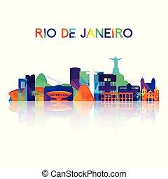 Rio De Janeiro skyline silhouette in colorful geometric style.