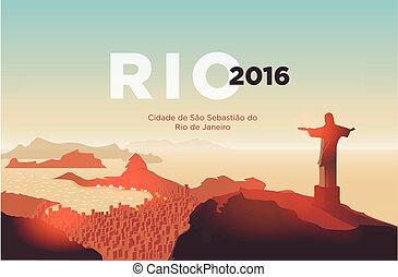 Rio de Janeiro skyline. Statue of Jesus Christ rises above the brazilian city. Sunset sky over Copacabana beach. Vector illustration.