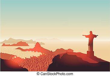 Rio de Janeiro skyline. Statue rises above the brazilian city. Sunset sky over Copacabana beach. Vector illustration.
