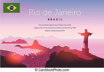 Rio de Janeiro skyline. Statue rises above the brazilian city. Sunset sky over Copacabana beach. Vector illustration