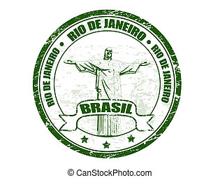 Grunge rubber stamp with statue of the Christ shape and the name of Rio de Janeiro - Brasil written inside the stamp