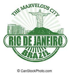 Rio de Janeiro ( The Marvelous City ) stamp - Grunge rubber...