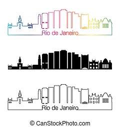 Rio de Janeiro V2 skyline linear style with rainbow