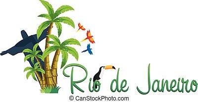 Rio de Jeaneiro logo. Travel in Brasil. South America. Toucan. Three parrots.