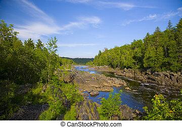 rio, e, pedra, através, a, norte, madeiras
