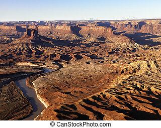 rio, em, parque nacional canyonlands, utah.