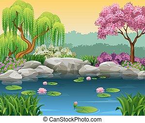 rio, ilustração, bonito