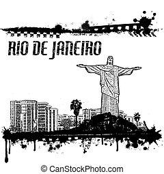 rio, janeiro, ellen-, grunge, poszter