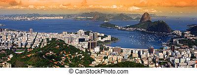 Rio landscape - Panoramic view of Rio De Janeiro, Brazil...