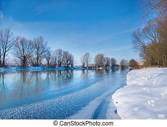 rio, neva-coberto, inverno