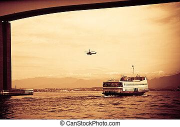 rio-niteroi, de, barca, guanabara, baia, barco del ...
