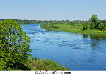 rio, ocidental, dvina, em, belarus