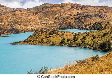 Rio Paine among the hills - Summer in the south of Chile....