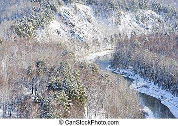 rio, paisagem inverno, vista