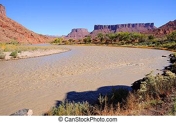 Rio, recurso,  Meander,  colorado, deserto