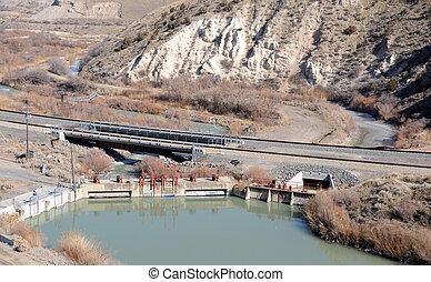 rio, represa, diversão, utah, jordânia