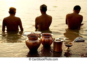 rio, ritual, ganges, manhã