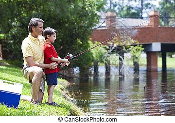 rio, seu, pai, pesca, filho