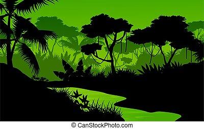 rio, silueta, selva, paisagem