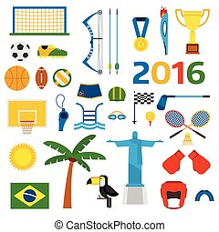 Rio summer olympic games icons