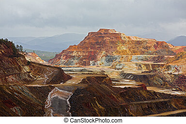 Rio Tinto mine - Detailed view of copper mine open pit in...
